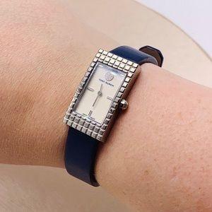 EUC Tory Burch Buddy Rectangle Watch - Navy/Silver